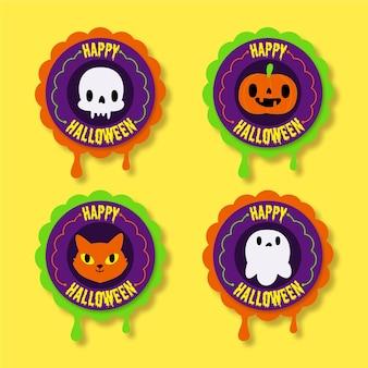 Collection de badges halloween design plat