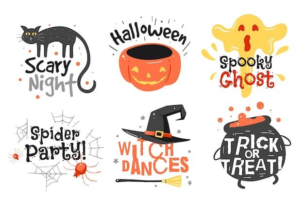 Collection de badges halloween dessinés à la main