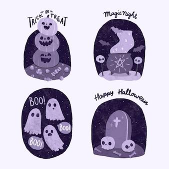 Collection de badges halloween dessinés à la main.