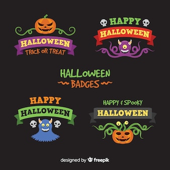 Collection de badges halloween plat
