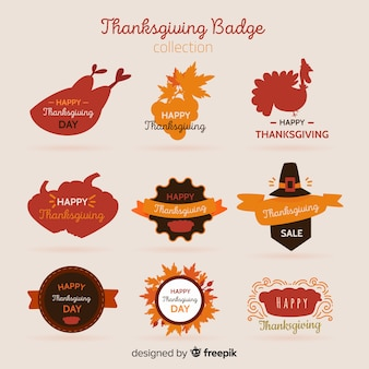 Collection de badges happy thanksgiving day