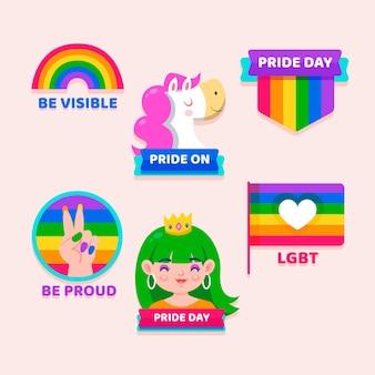 Collection de badges de jour de fierté de dessin animé