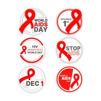 Collection de badges de la journée mondiale du sida
