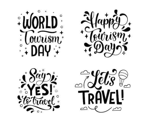 Collection de badges de la journée mondiale du tourisme dessinés à la main