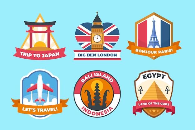 Collection de badges de la journée mondiale du tourisme