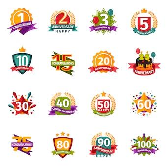 Collection de badges de joyeux anniversaire