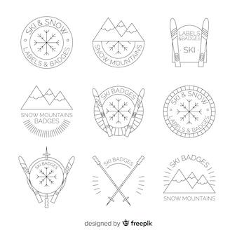 Collection de badges linéaires montagnes et flocons de neige