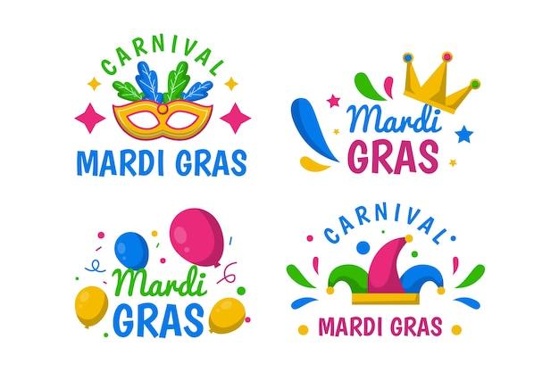 Collection de badges mardi gras