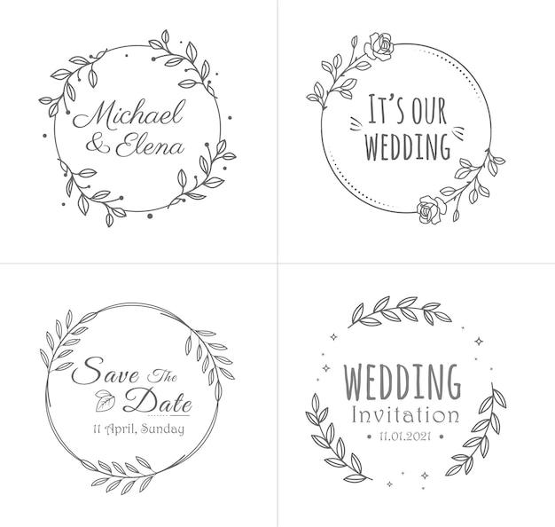 Collection de badges de mariage avec des cadres de fleurs