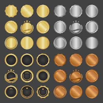 Collection de badges métalliques, d'étiquettes et d'éléments de conception modernes en cercle doré.