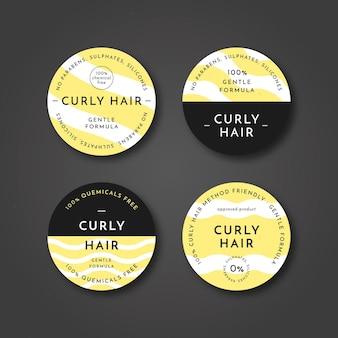 Collection de badges de méthode de cheveux bouclés