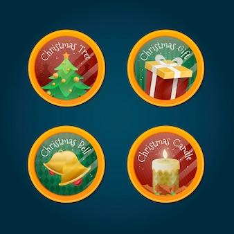 Collection de badges de noël au design plat