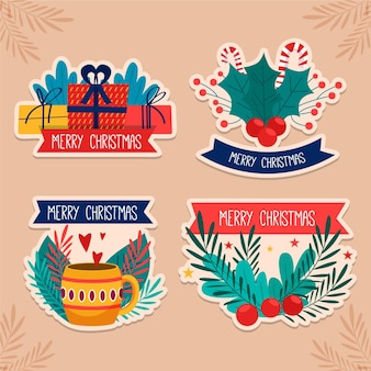 Collection de badges de noël au design plat