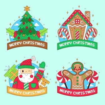 Collection de badges de noël design plat