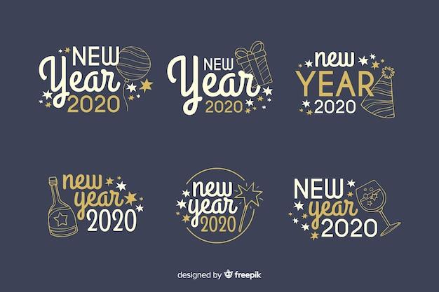 Collection de badges de nouvel an 2020 dessinés à la main