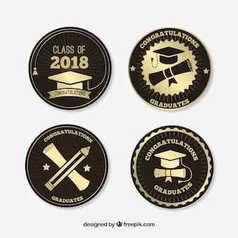 Collection de badges d'obtention du diplôme dans le style plat