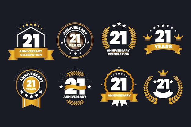 Collection de badges or 21 anniversaire