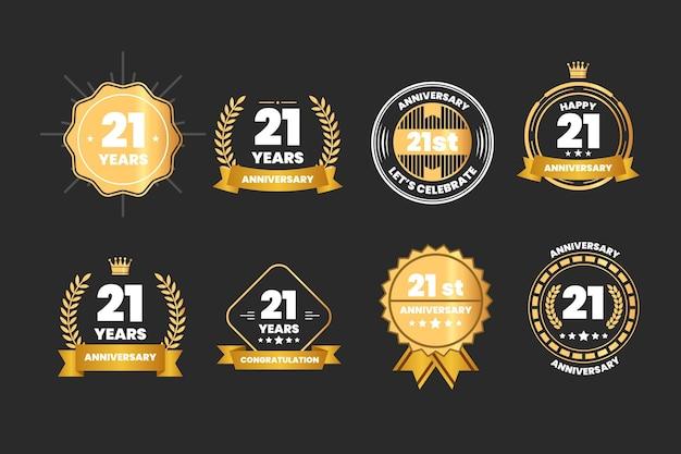 Collection de badges or 21 anniversaire