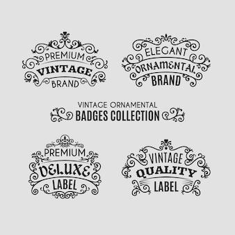 Collection de badges ornementaux vintage