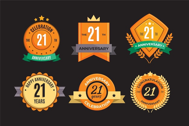 Collection de badges plat 21 anniversaire