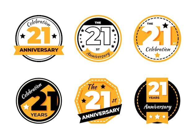 Collection de badges plat 21 anniversaire