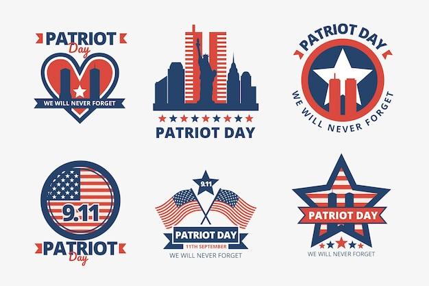 Collection de badges plat 9.11 jour patriote