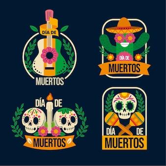Collection de badges plats dia de muertos dessinés à la main