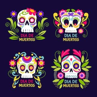 Collection de badges plats dia de muertos