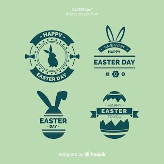 Collection de badges plats du jour de pâques