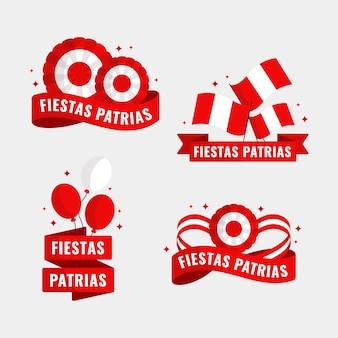 Collection de badges plats fiestas patrias de pérou