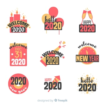 Collection de badges plats nouvel an 2020