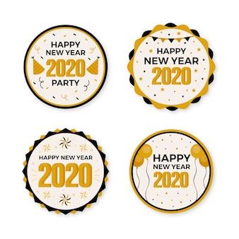 Collection de badges plats nouvel an 2020