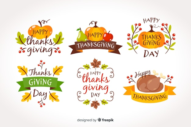 Collection de badges pour le jour de thanksgiving