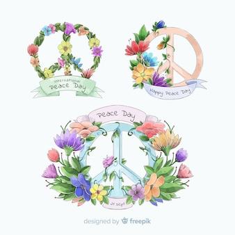 Collection de badges pour la journée internationale de la paix