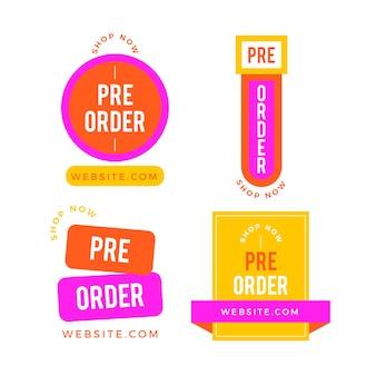 Collection de badges de pré-commande aux couleurs vives