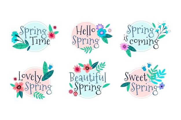 Collection de badges de printemps dessinés à la main