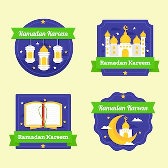 Collection de badges ramadan design plat