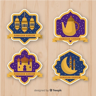 Collection de badges ramadan plats