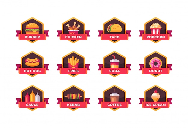 Collection de badges de restauration rapide. étiquettes de menu de restaurant