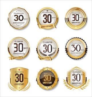 Collection de badges rétro doré anniversaire