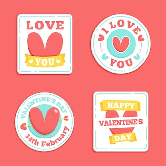 Collection de badges de la saint-valentin dessinés à la main