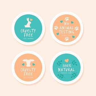 Collection de badges sans cruauté au design plat
