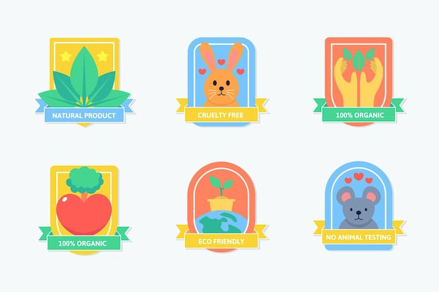 Collection de badges sans cruauté au design plat
