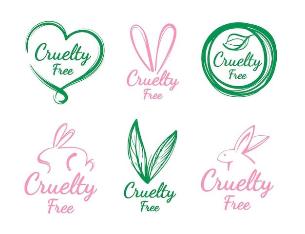 Collection de badges sans cruauté dessinés à la main