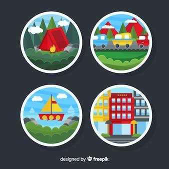 Collection de badges de scènes de voyages plats