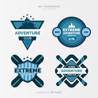 Collection de badges de ski et de neige