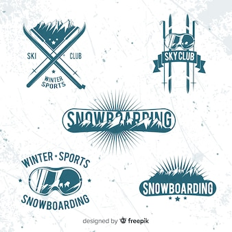 Collection de badges de ski / neige