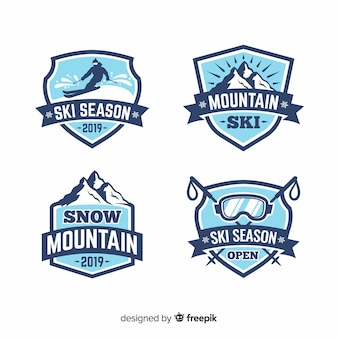 Collection de badges ski plat et neige