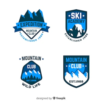 Collection de badges ski plat et neige