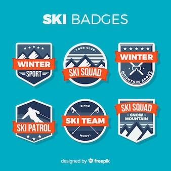 Collection de badges de ski plat